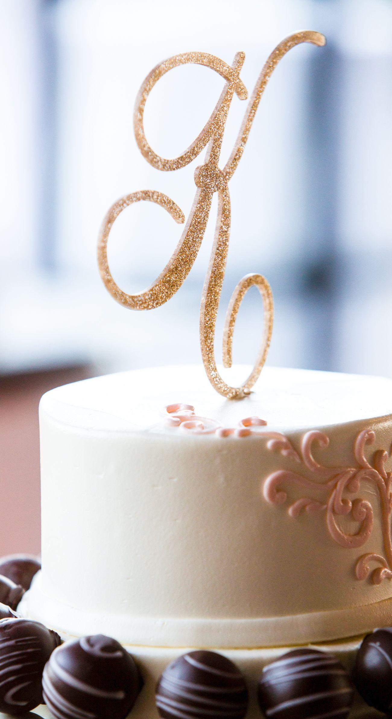 Wedding Cake Topper Letter Monogram in Glitter or Wood Cake Topper ...