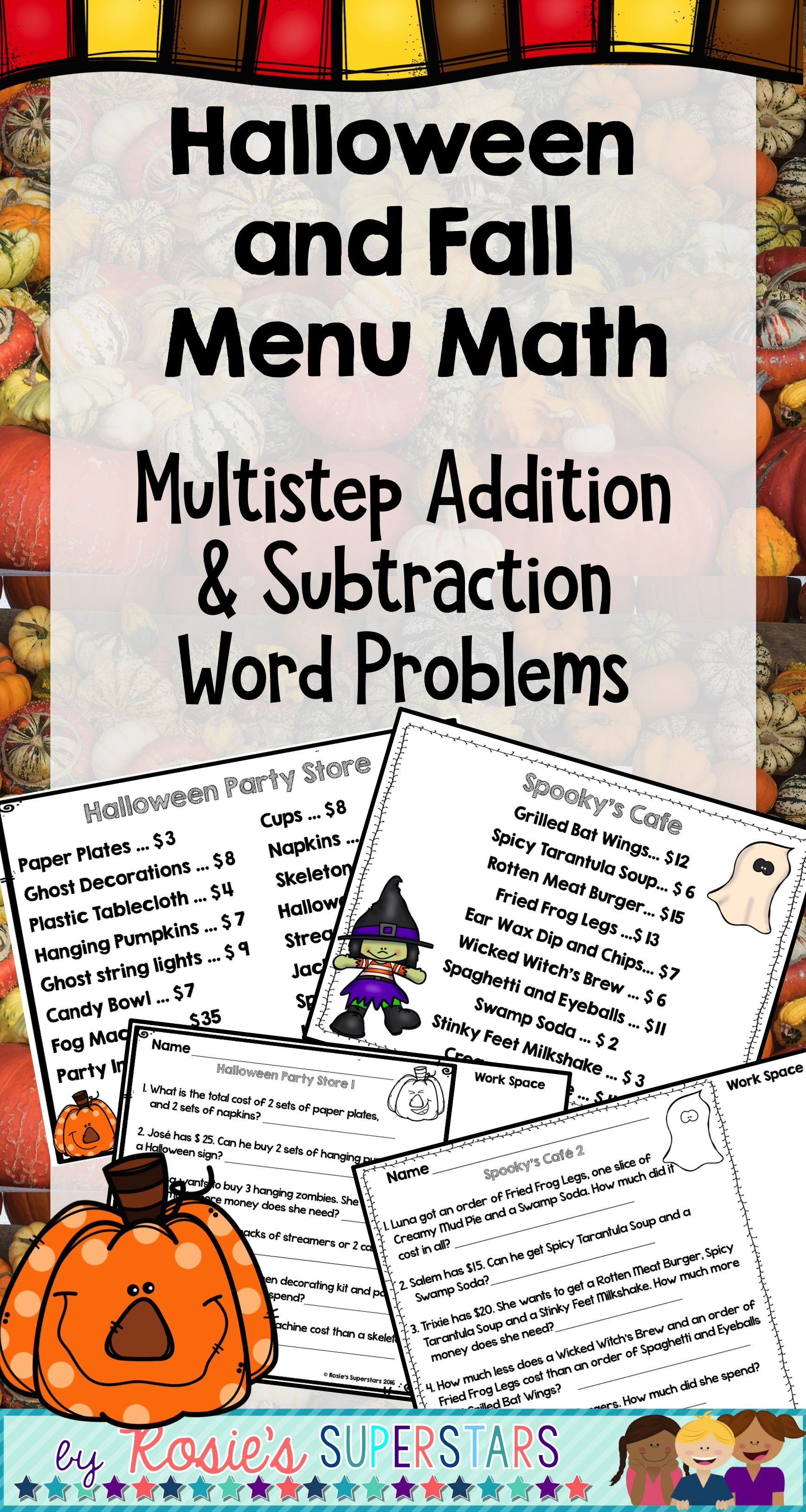 Halloween And Fall Math Multistep Addition And