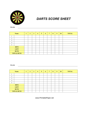 This Darts Score Sheet Has Space To Record Your Scores For Everybody S Favorite Pub Game Free To Download And Print Darts Scores Dart Board Scoring Darts Game