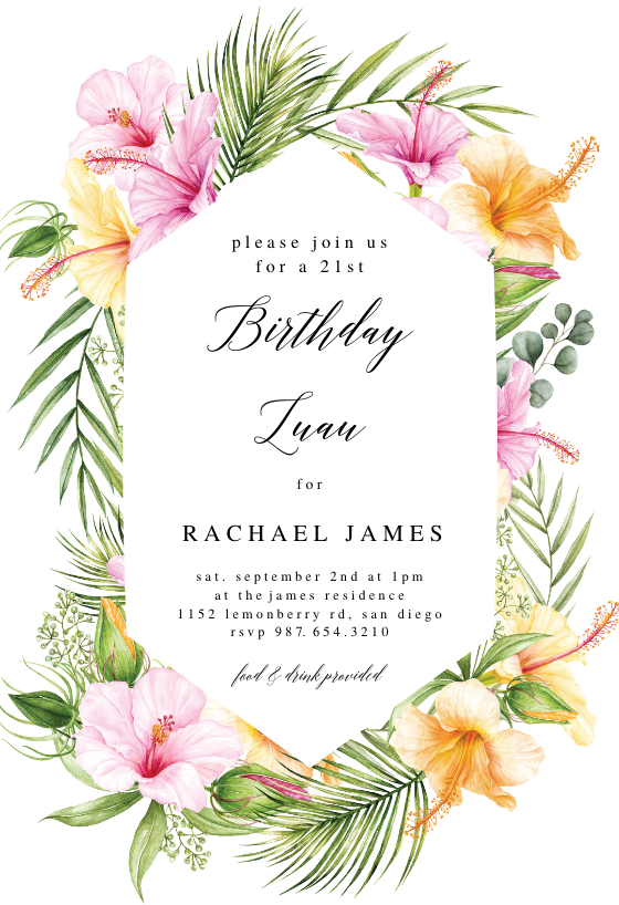 Tropical Flower Wreath Birthday Invitation Template Free Greetings Island Tropical Invitations Flamingo Birthday Invitations Tropical Birthday Invitations