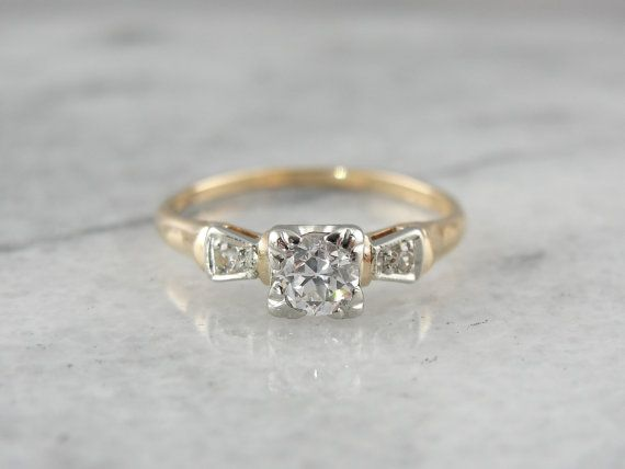 Classic Style Early 1940 39 S Engagement Ring Engagement Rings 1940s Engagement Ring Diamond Engagement Rings