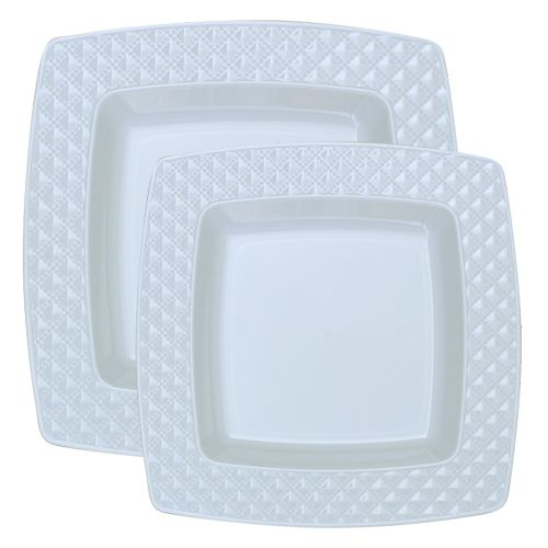 Diamond White with White Rim Plastic Plate Set | White rims Square plates and Disposable plates  sc 1 st  Pinterest & Diamond White with White Rim Plastic Plate Set | White rims Square ...