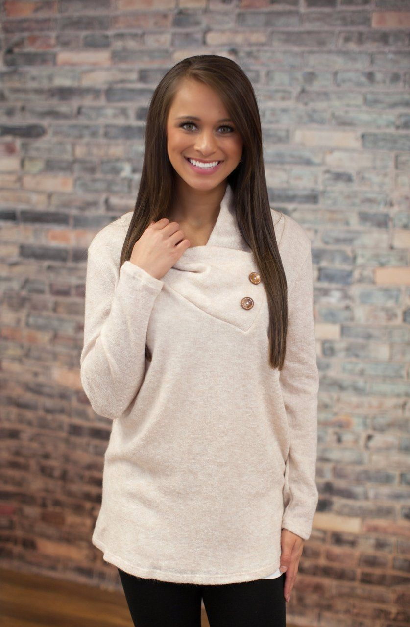 The Pink Lily Boutique - Oatmeal Button Sweater, $40.00 (http://thepinklilyboutique.com/oatmeal-button-sweater/)