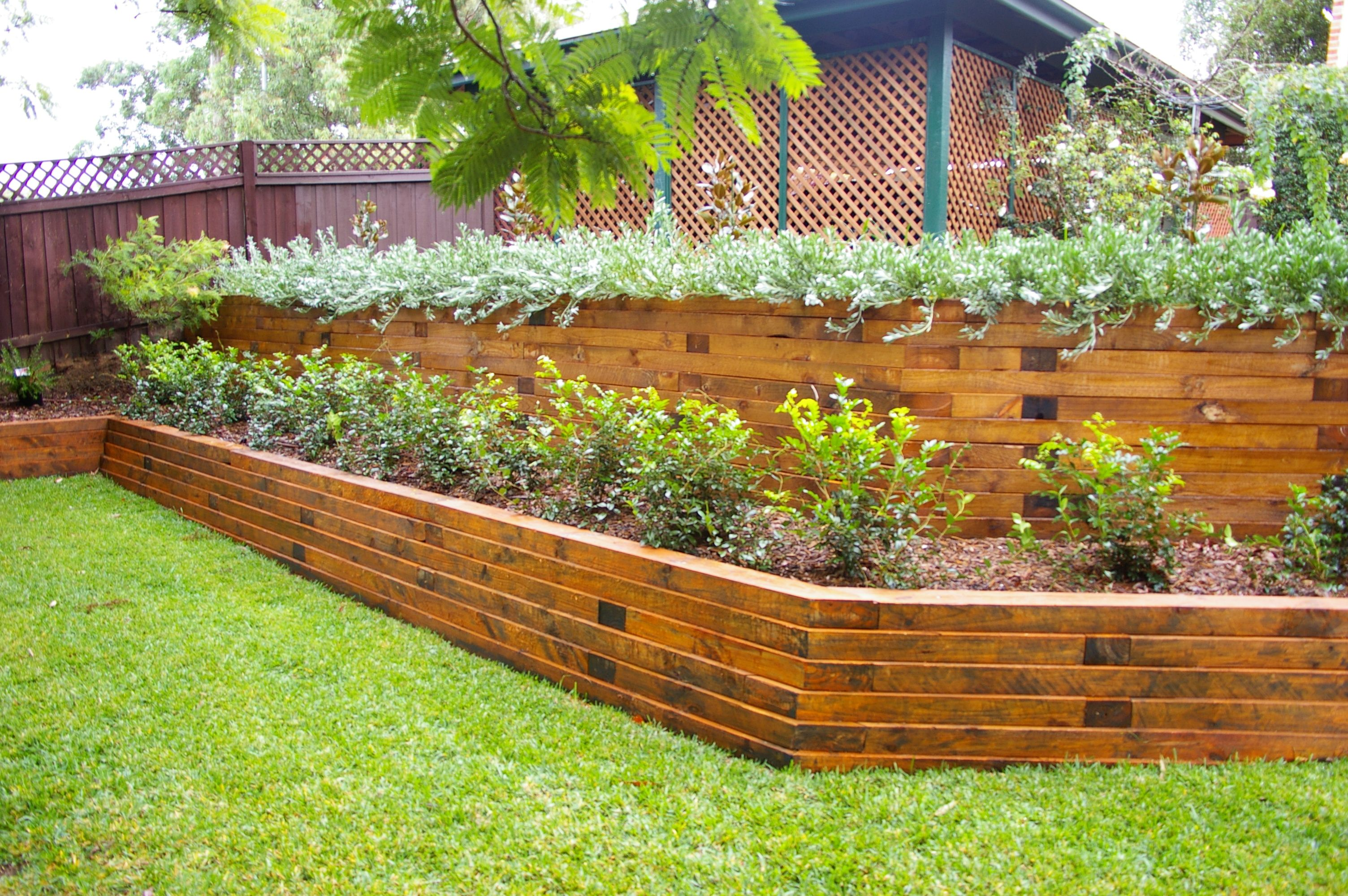 Landscape Timber Retaining Wall Vertical images