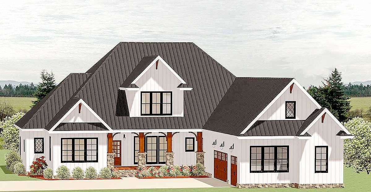 New Country House Plans Fresh Plan La Country Craftsman House Plan With Optional Craftsman House Craftsman House Plan Courtyard House Plans