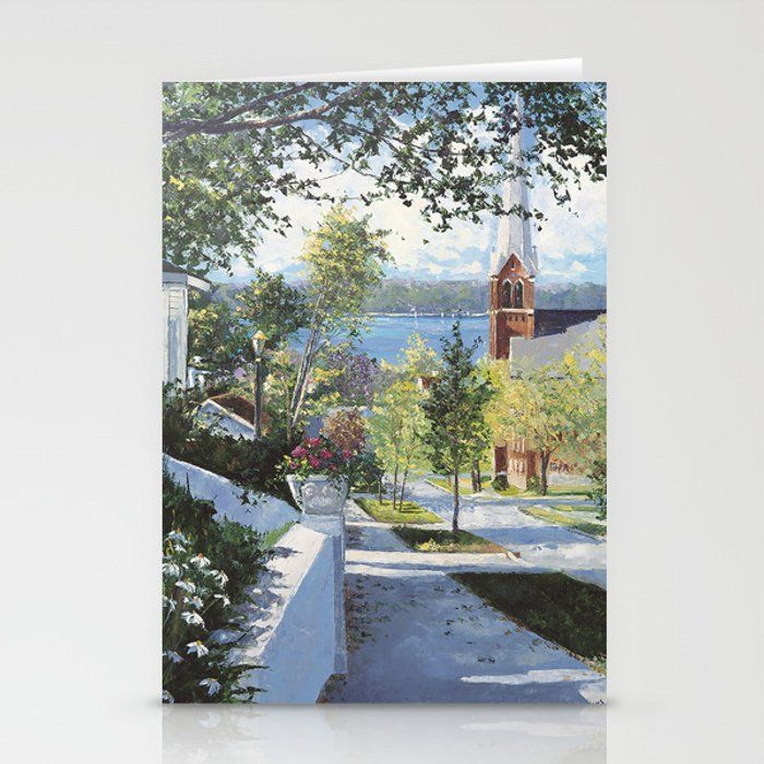 Early Summer In Petoskey Greeting Card by Valerie Thomson Art - Set of 3 Folded Cards (5