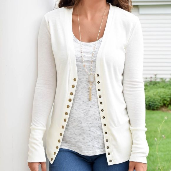 Cream / Off White Snap Up Cardigan Awesome layering piece! You will love this snap up cardigan! Fits 0-4. Sweaters Cardigans
