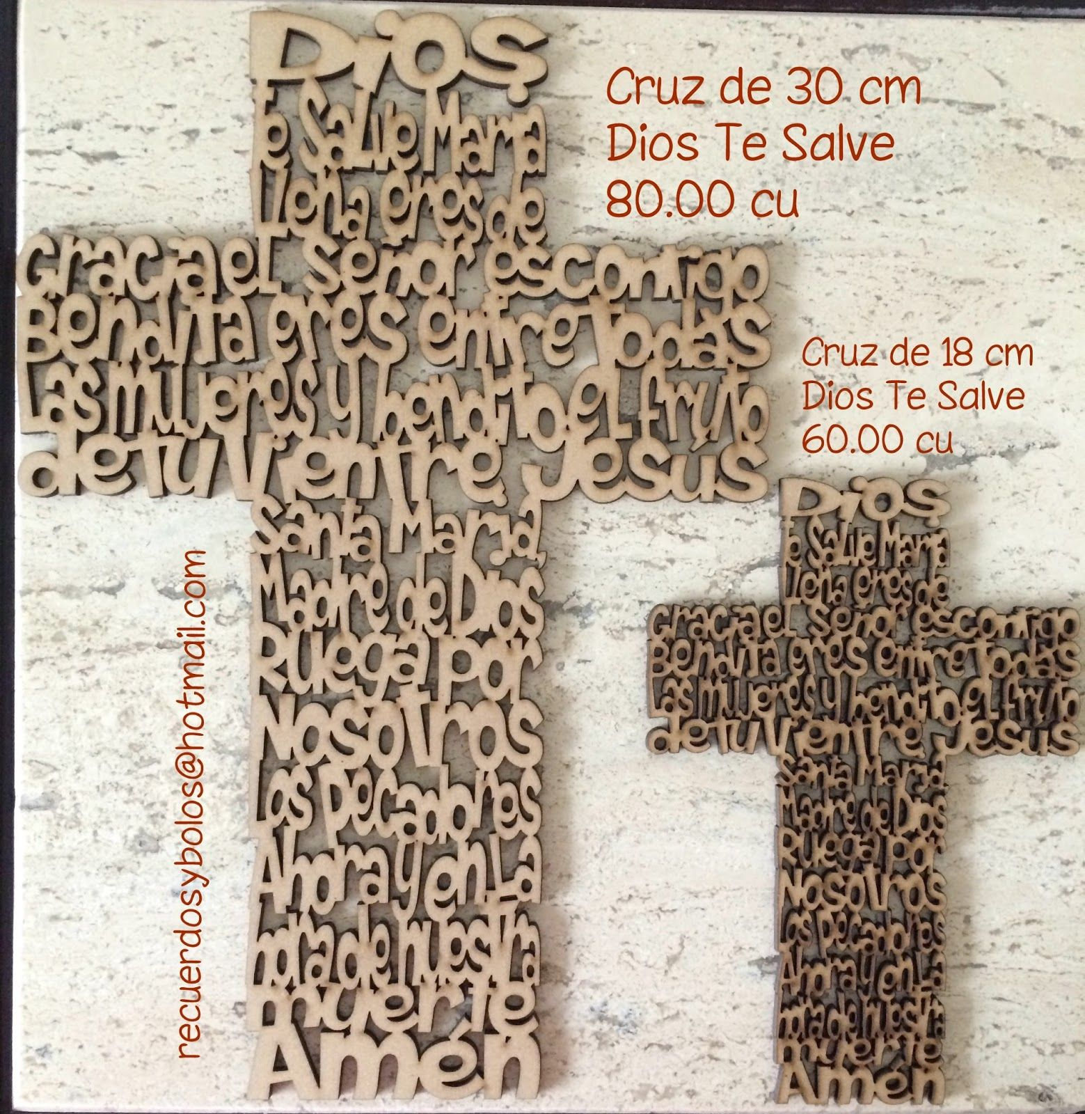 Recuerdos De Bautizo Cruz De Madera.Cruces Con El Padre Nuestro Y El Angel De La Guarda En Mdf