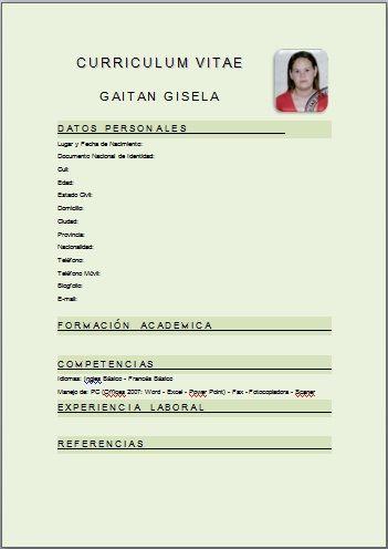 Plantillas Curriculum Vitae Para Rellenar Chile Plantilla