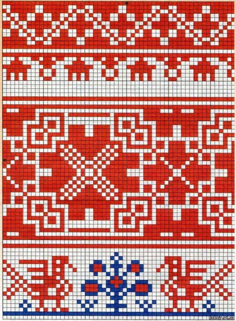 Русские узоры и орнаменты спицами
