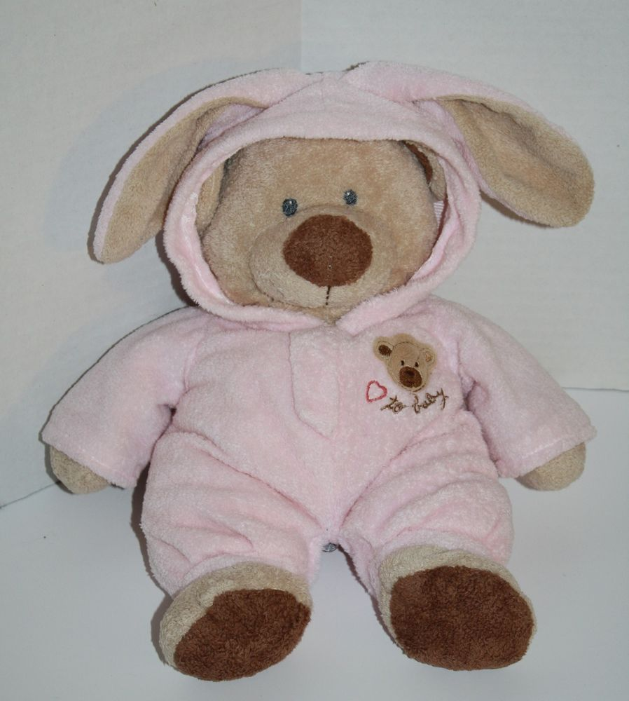 Ty Pluffies 2005 Teddy Bear Pink Non Removable Pajamas Pj