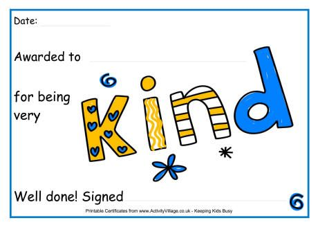 For being kind award certificate | Award Certificates | Pinterest