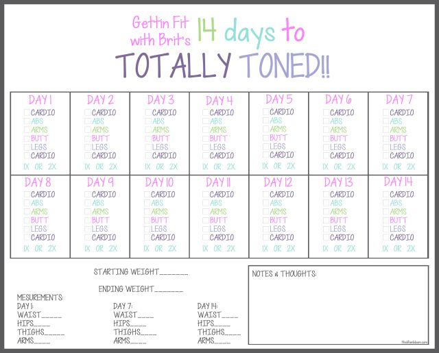 14 Days to Totally Toned PRINTABLES | Fit and Healthy | Pinterest ...