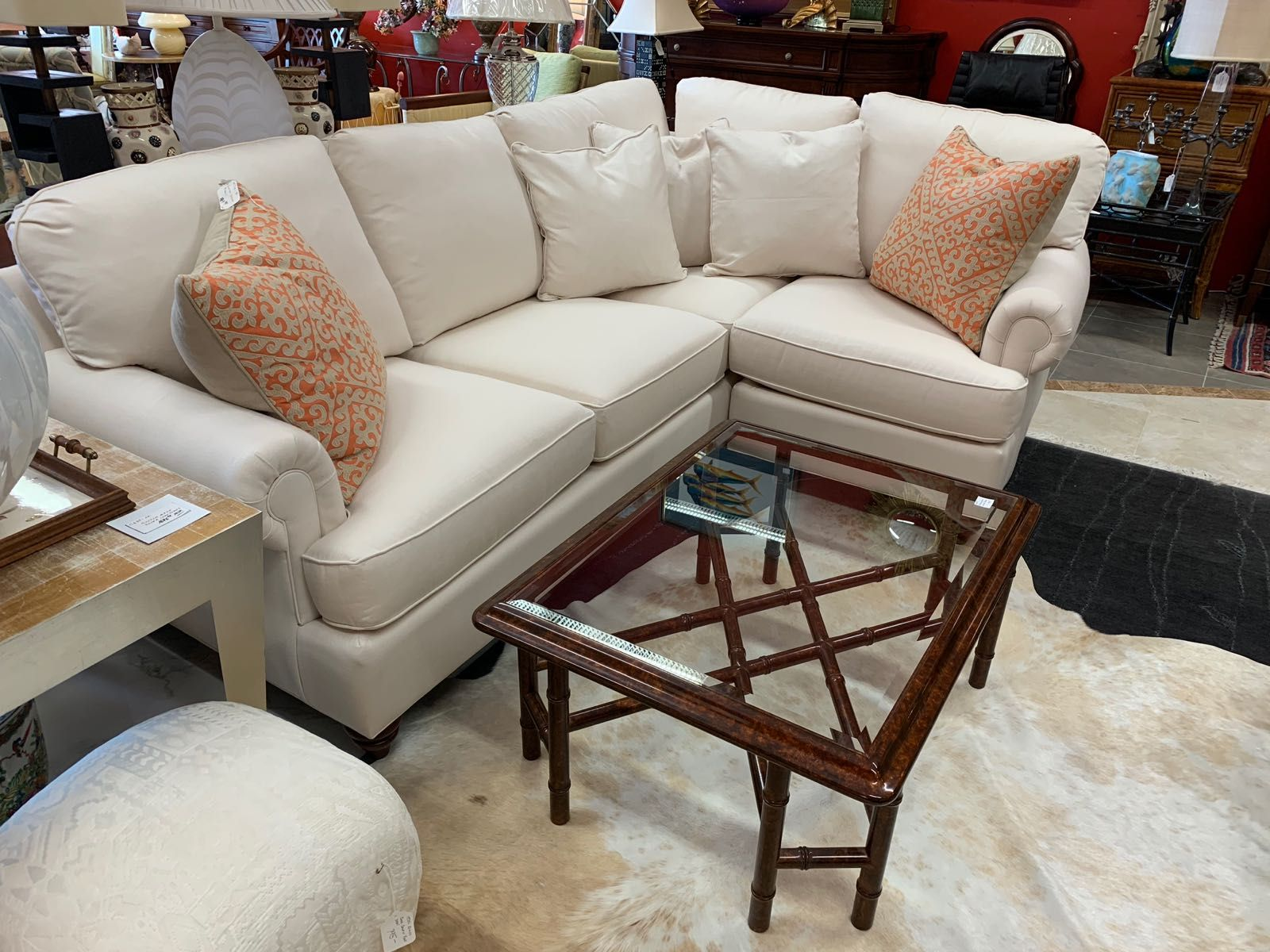 Sectional For A Small Space Big Comfy L Sofa With Roll Arms And Big Cushions All Covered In Durable Off White Cotto Big Cushions Sell Used Furniture Furniture