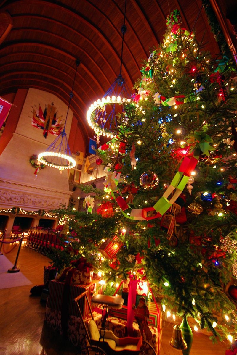 Giant Biltmore House Christmas Tree In Banquet Hall