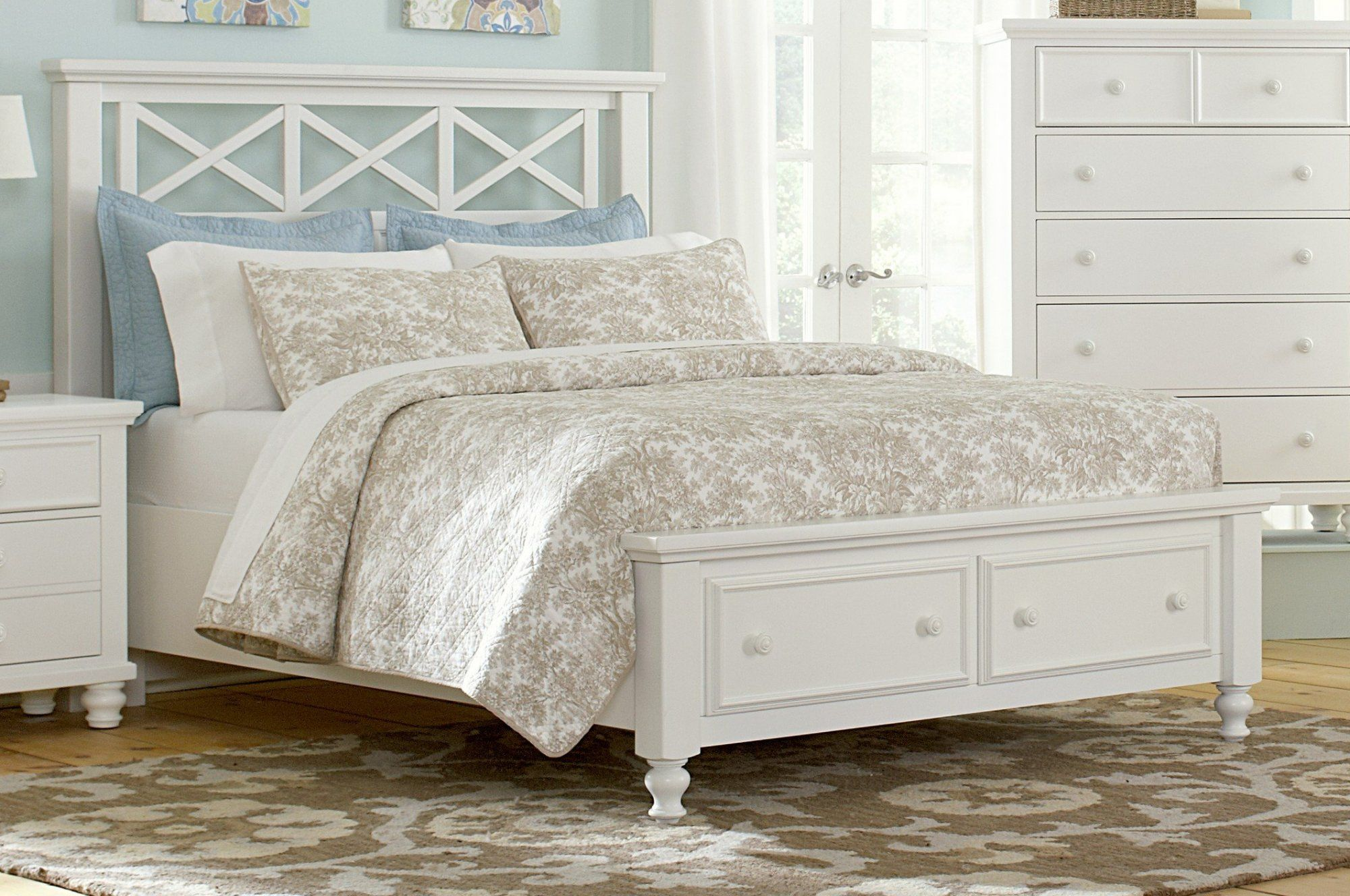 White Queen Bed Frames With Drawers Storage Underneath | Queen Beds ...