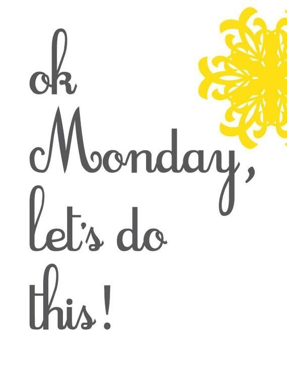 Good Morning everyone! It's Monday morning and the sun is shining!