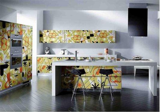 Modern Kitchen With Eccentric Cabinets Italian Kitchen Design Very Small Kitchen Design Kitchen Design Small