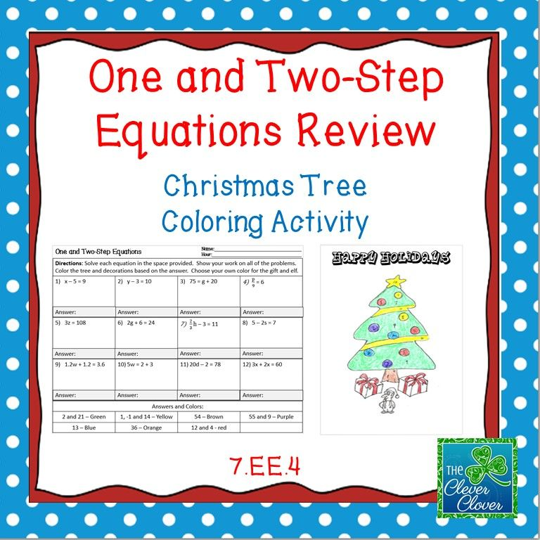 Holiday Math - One, Two-Step and Multi-Step Equation Worksheets ...