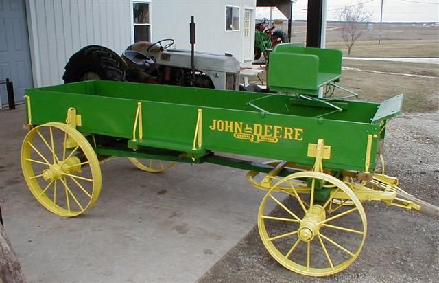 Animated John Deere Tractors And Wagon : Restored john deere wooden wagon on steel wheels for sale