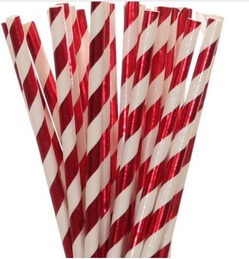 25pcs Biodegradable Paper Drinking Straw Stripe Birthday Party Wedding Christmas