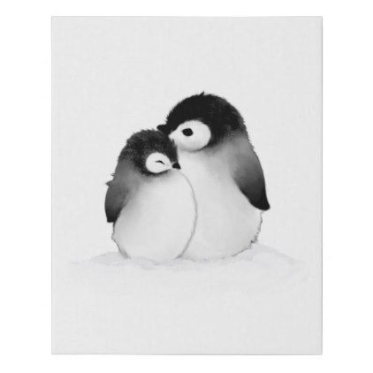 Penguin Painting Faux Wrapped Canvas Print | Zazzle.com