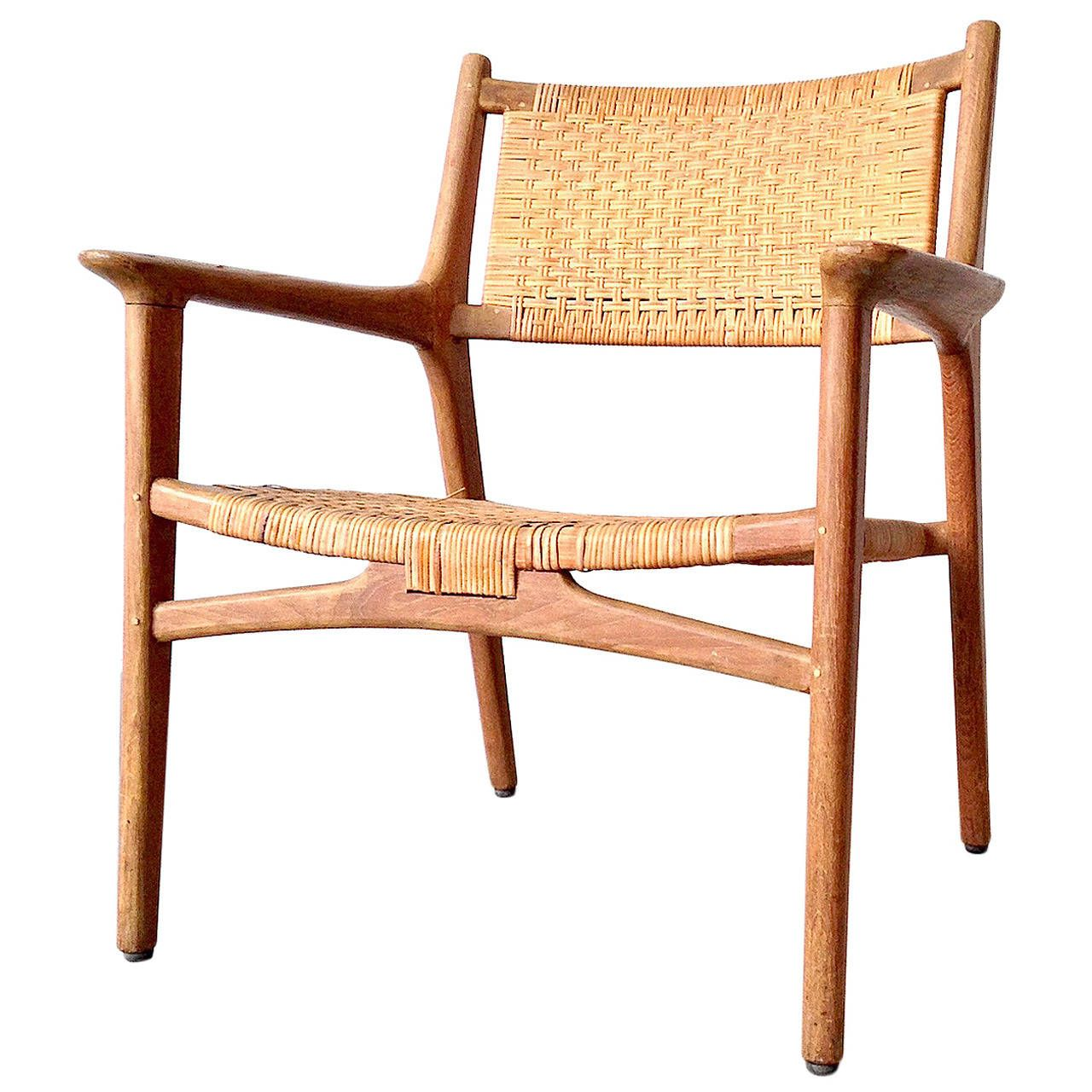 Hans J. Wegner For Johannes Hansen Teak Cane Easy Chair, 1951