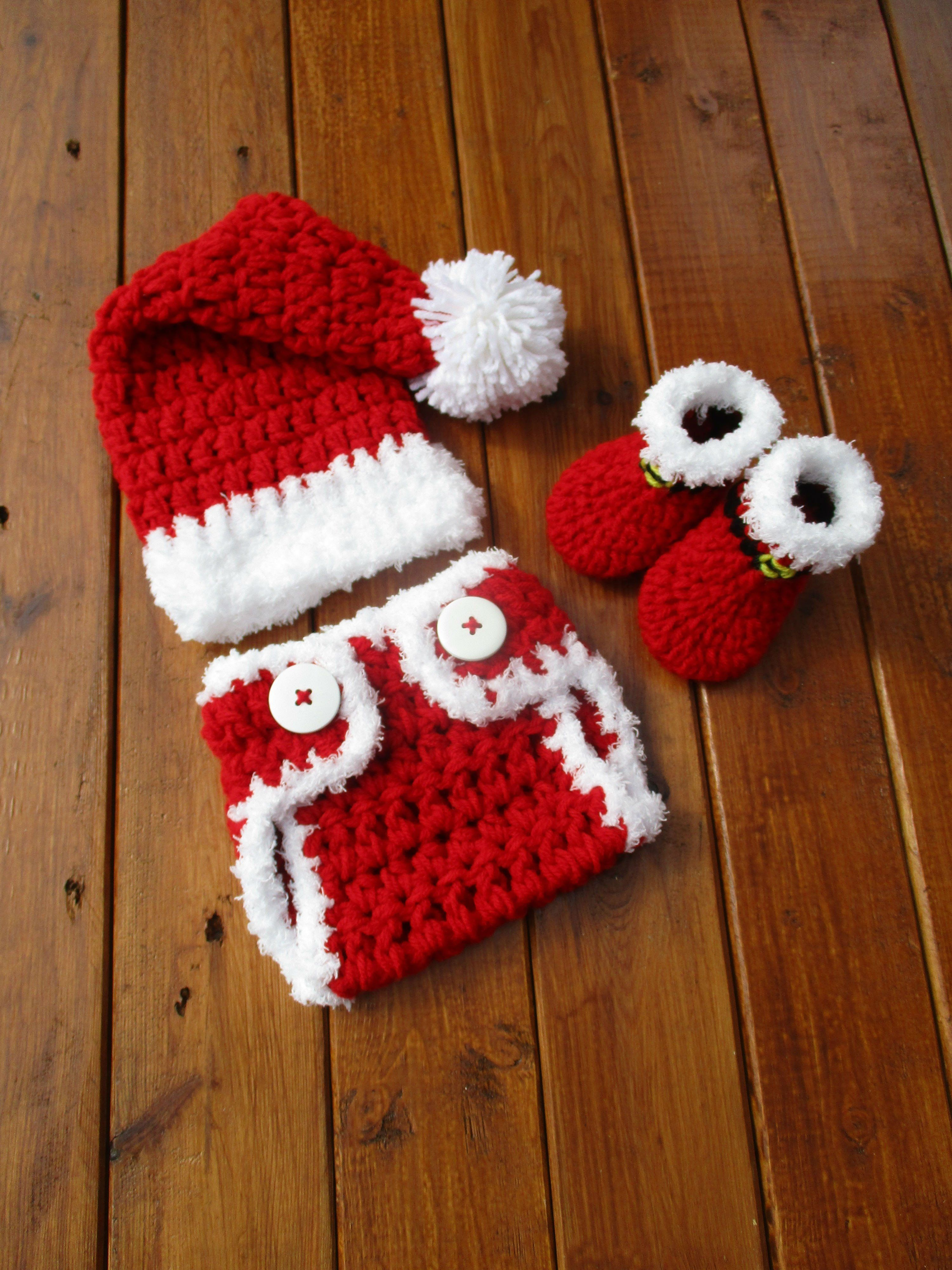 b1709700431 Santa Red White Baby Set Newborn Christmas Photo Prop