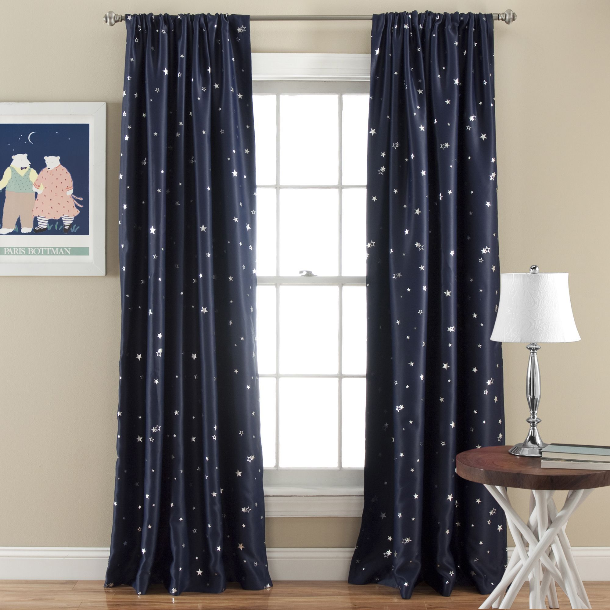 Lush Decor Star Room Darkening Window 84 Inch Curtain Panel Pair