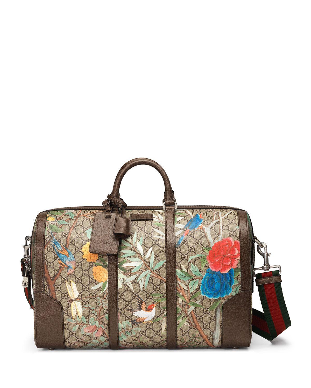 0d851498e50 Large Tian-Print GG Supreme Canvas Duffel Bag