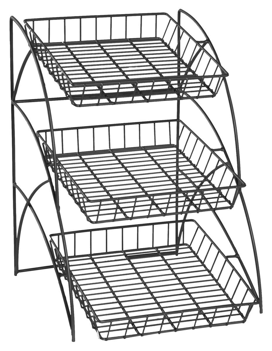 3 Tiered Wire Rack Display Tabletop 14 W Open Shelves Black