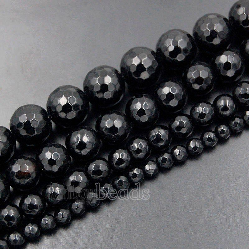 """Natural Faceted Black Hematite Healing Stone Spacer Beads for Jewelry Making 15/"""""""