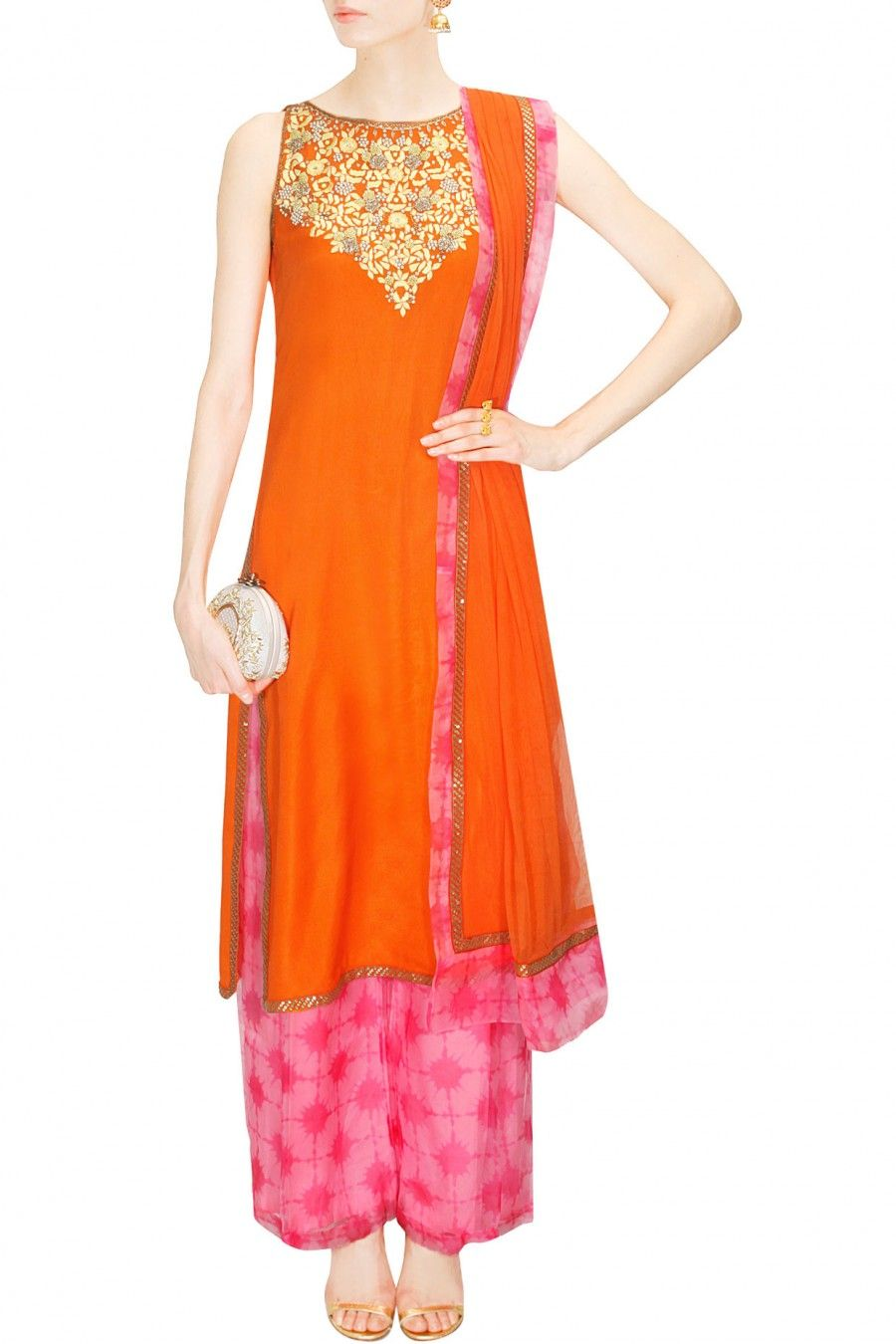 Orange and pink embroidered kurta set available only at Pernia's Pop Up Shop.