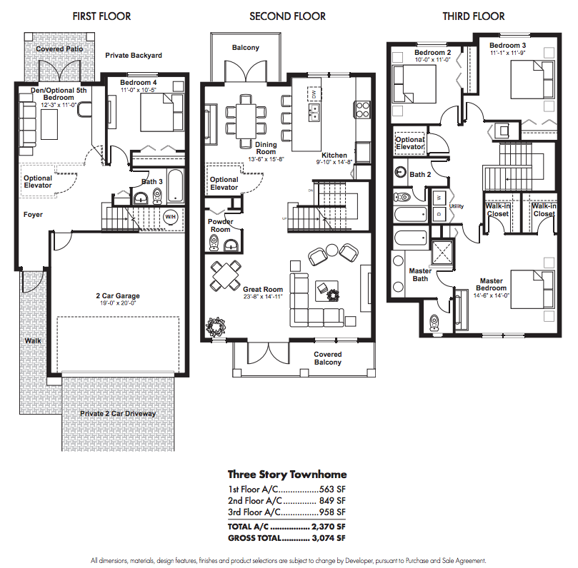 Townhouse floor plans story townhouse floor plans car for Three story townhouse floor plans