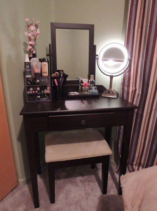 Vanity table set ideal for small corners and fits in with for Small vanity set
