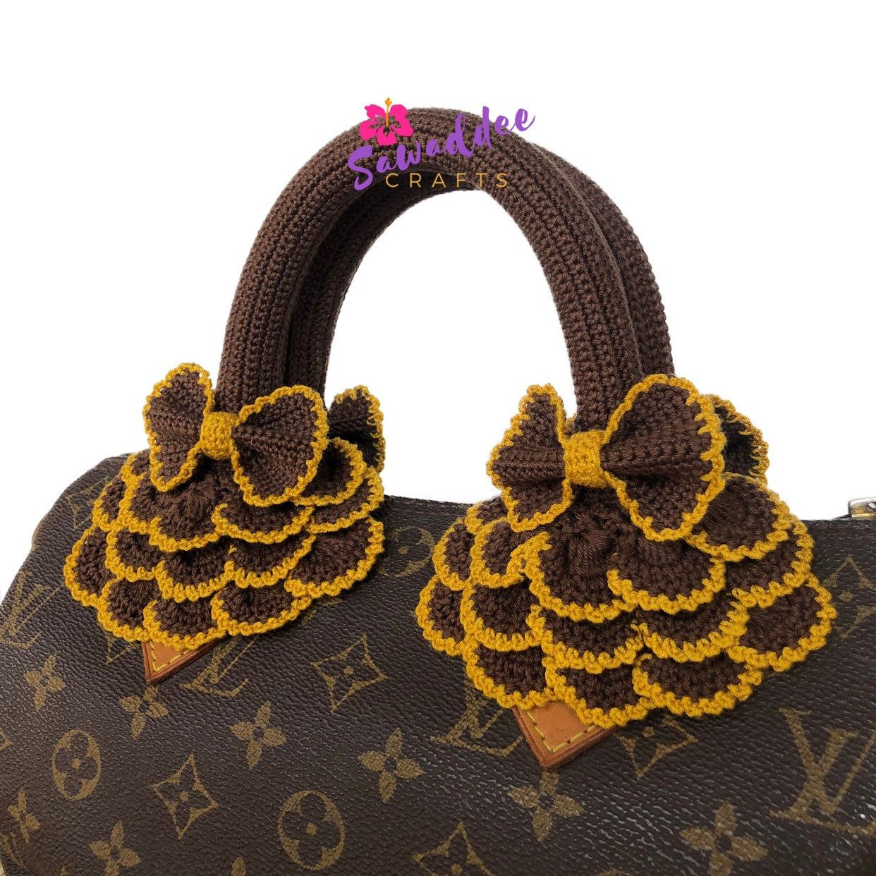 93afd2f7a02f Free shipping Dark brown handmade crochet bag handle cover protector for Louis  Vuitton LV Speedy 25-30-35