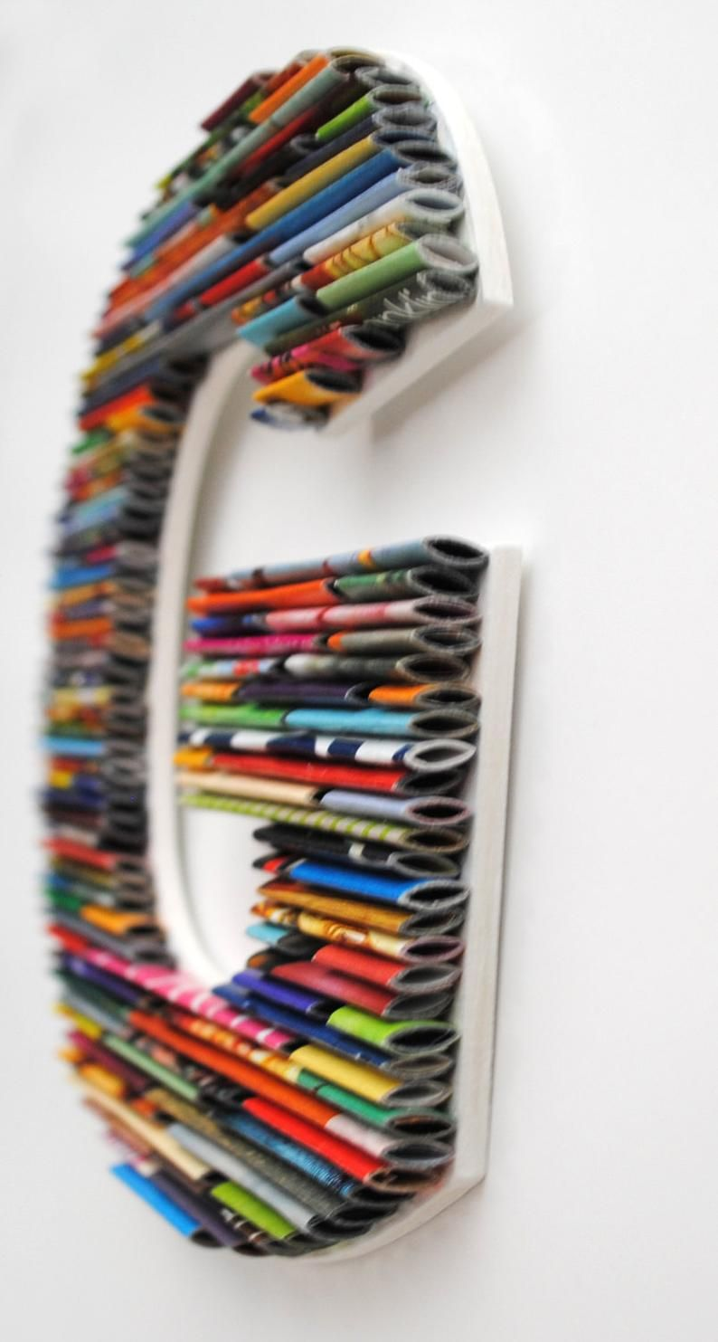 SMALL letters, numbers, symbols made with recycled magazines- colorful, unique, nursery decoration, alphabet, PLAY, fun, creative, modern #recycledart