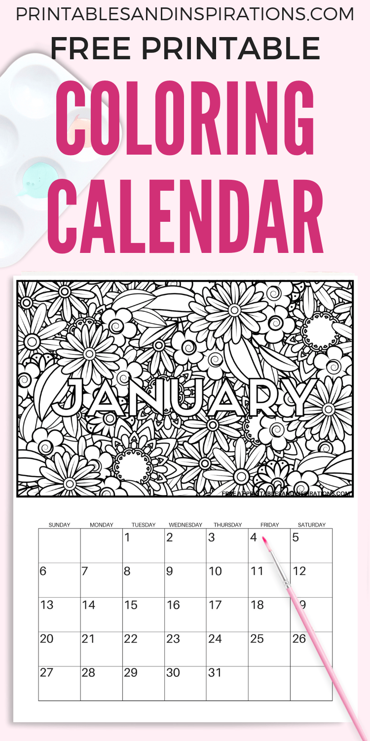 Free Calendar Coloring Pages For