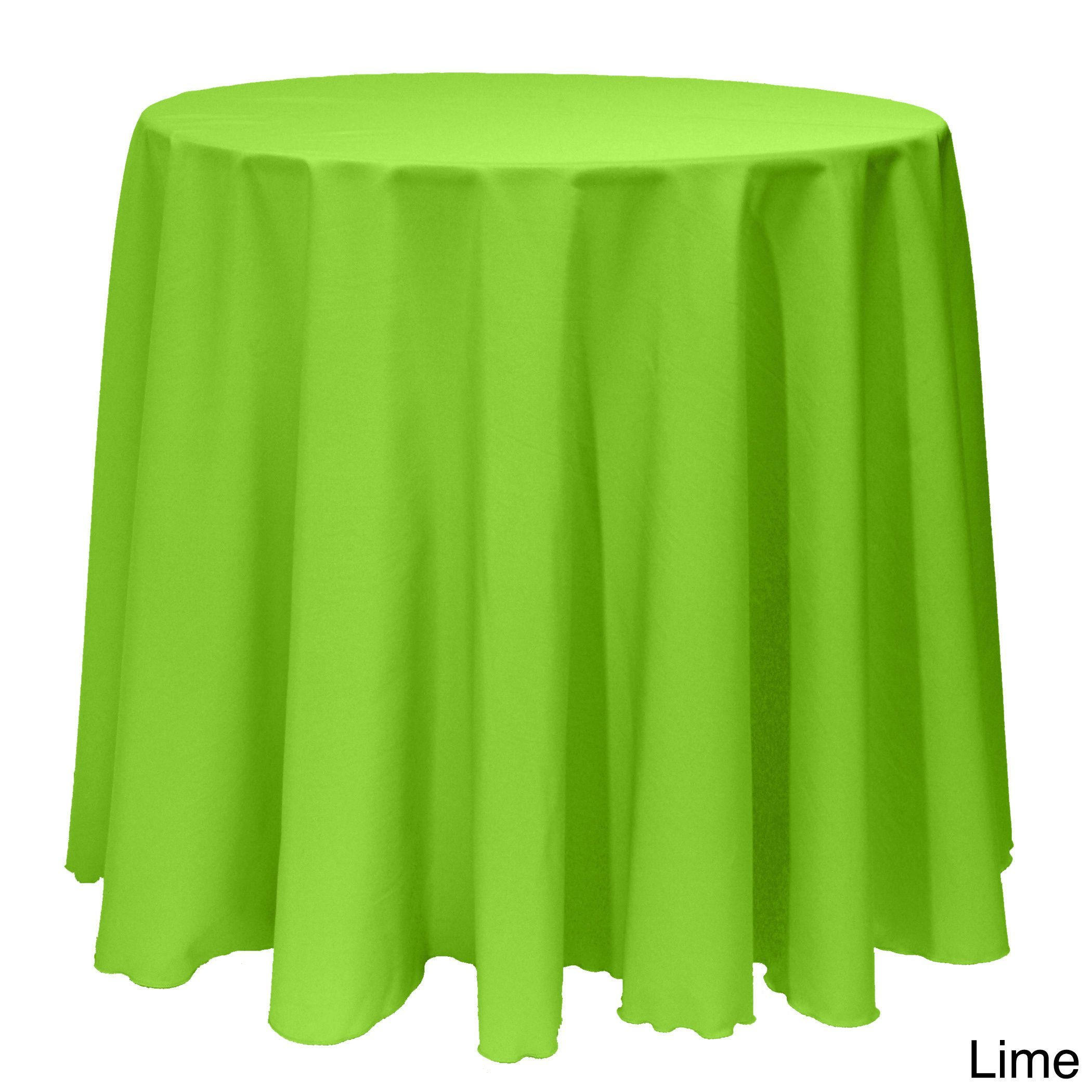 Solid Color 90 Inch Round Vibrant Color Tablecloth   90 (Lime), Green