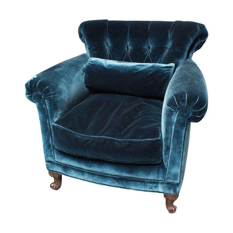 Best Peacock Blue Silk Velvet Club Chair Club Chairs Brown 400 x 300