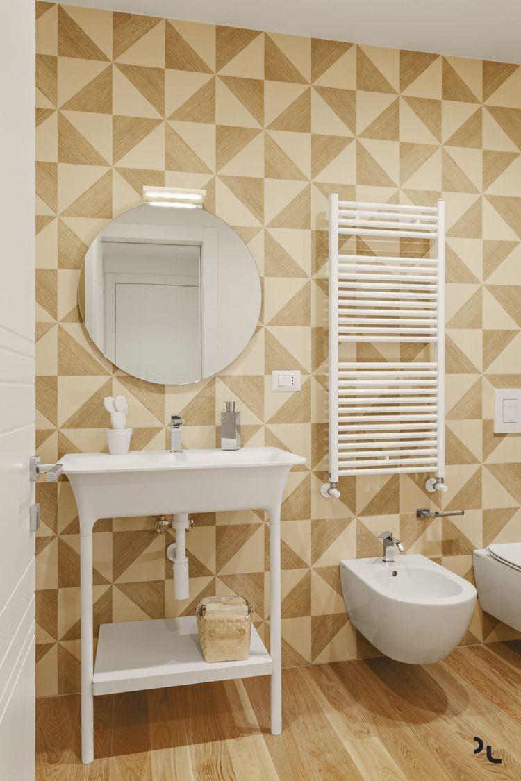 Holz Le Design holz modern badezimmer fussboden holzfliesen geometrisch wand