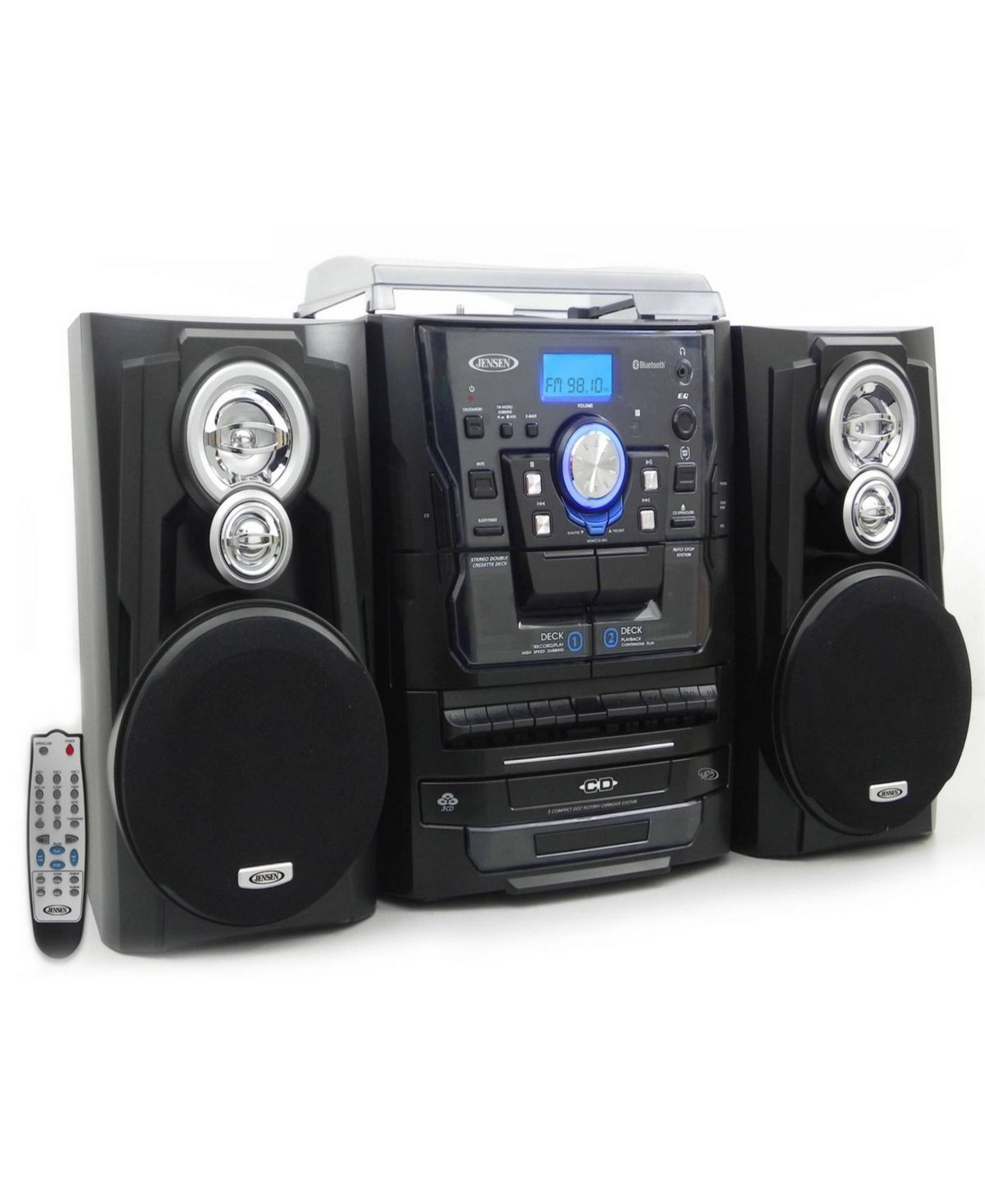Bluetooth 3-Speed Stereo Turntable 3 CD Changer Music System with Dual Cassette Deck and Remote Control #musicsystem