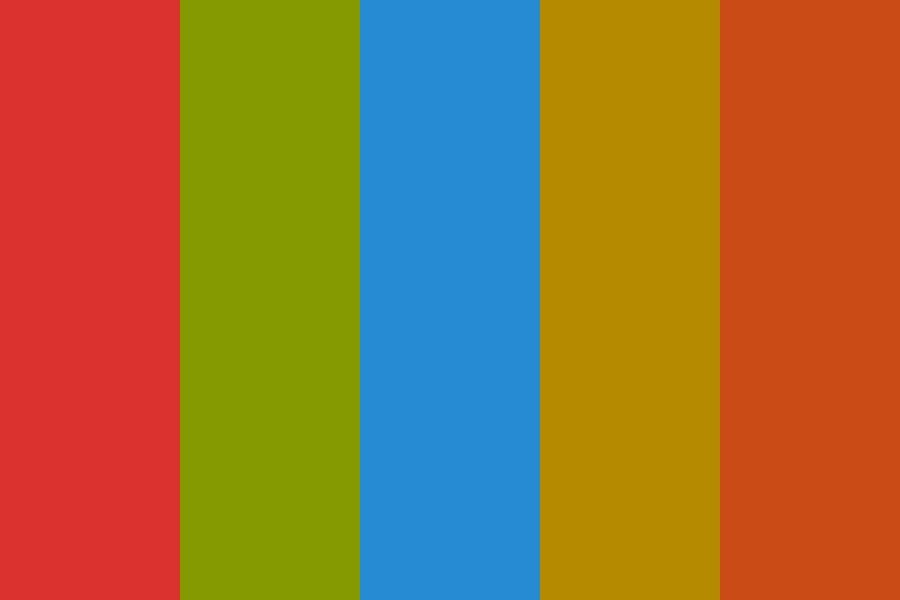 Sol Red Green Blue Yellow Orange Color Palette #color #colorschemes #colorpallete (With images) | Orange color palettes. Red colour palette. Blue ...