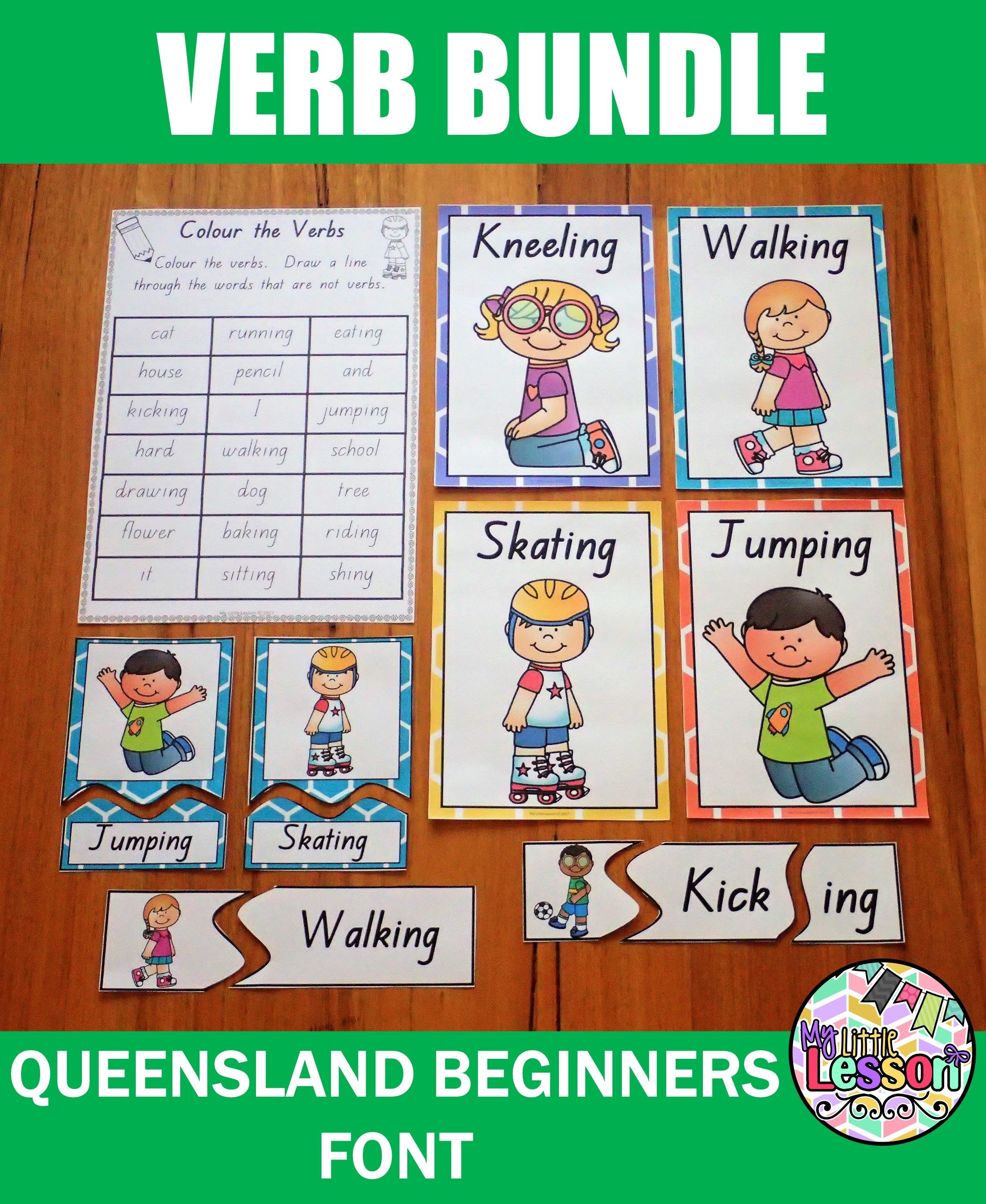 Verb Bundle Qld Beginners Font Worksheets Posters And