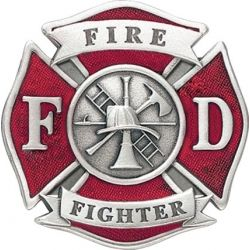 Red Pewter Maltese Cross Belt Buckle Firefighter Cross Stitch Chart Fighter