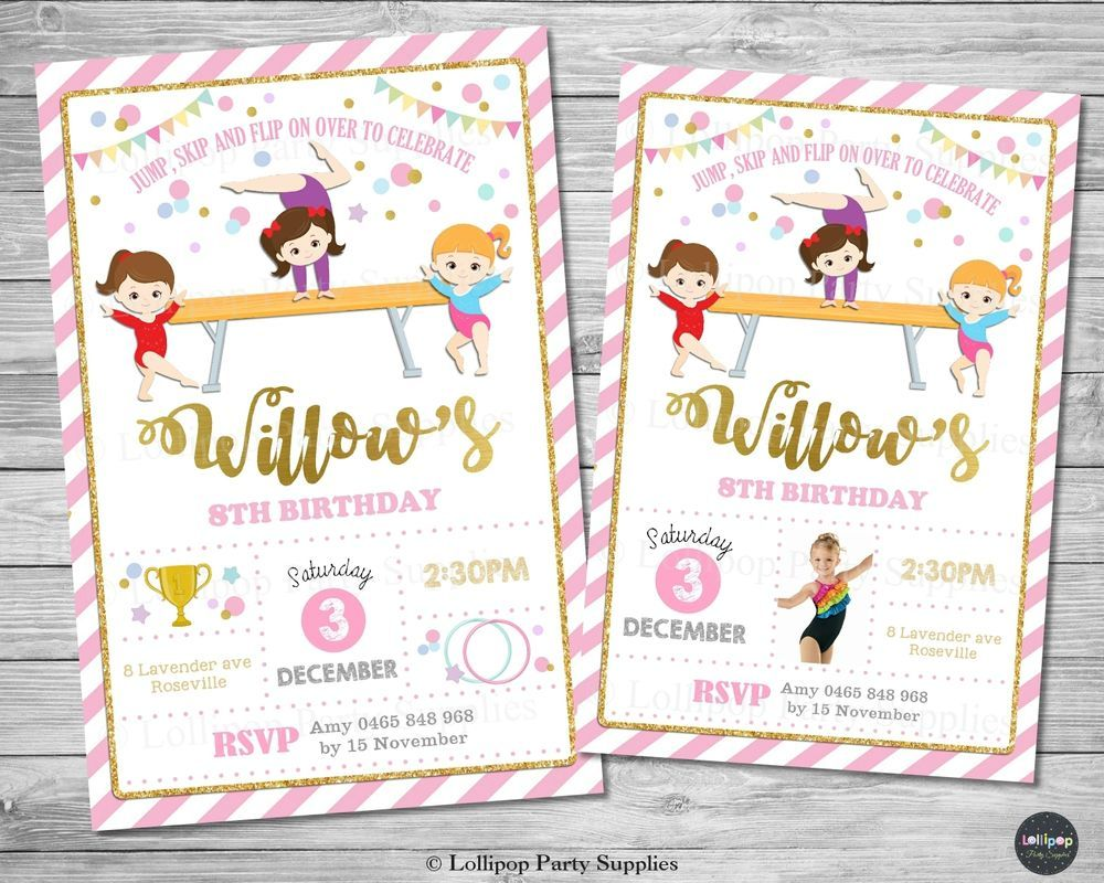 Gymnastics invitations invite birthday party supplies gym ribbon
