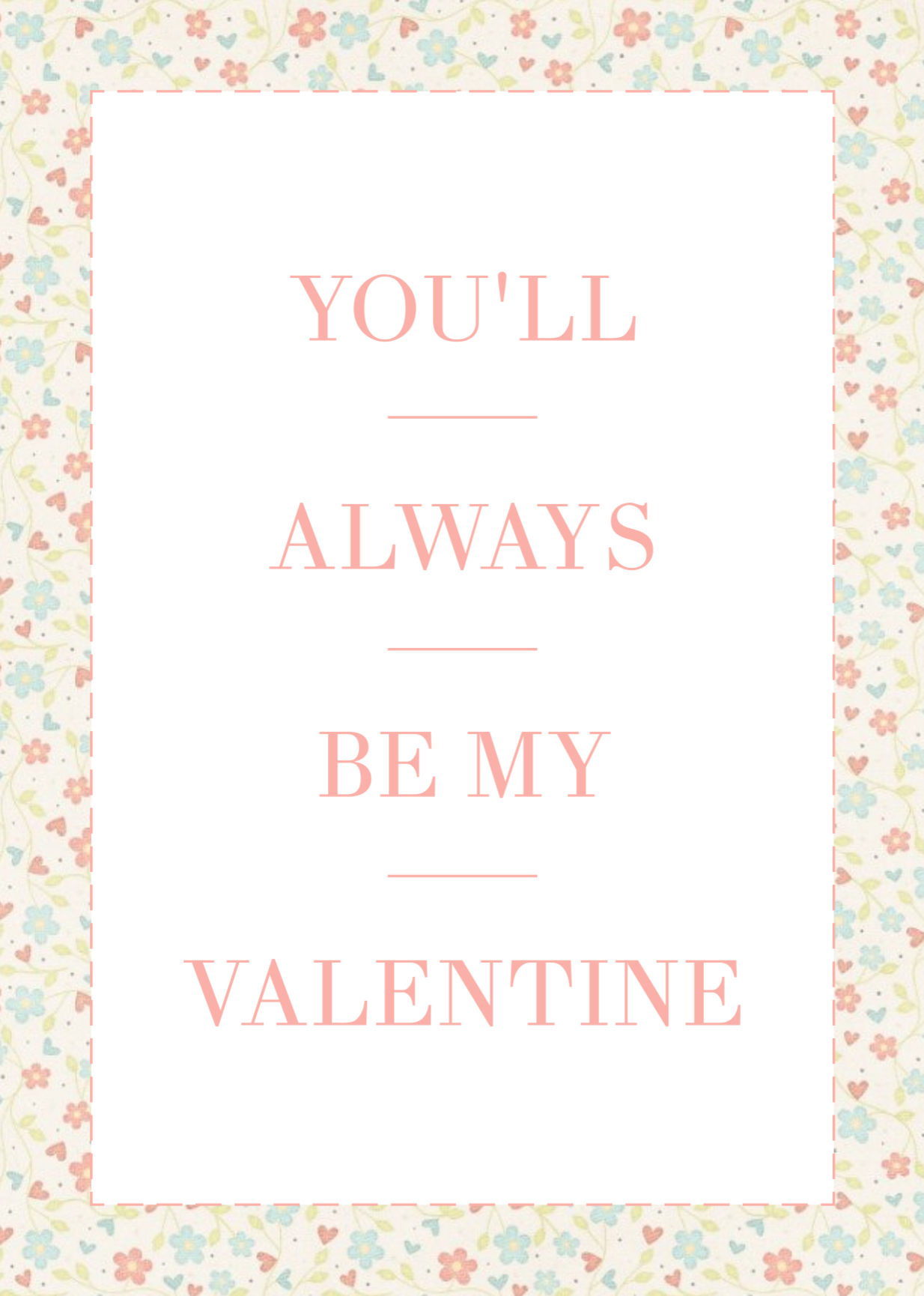 Romantic Valentines Day Postcard Template