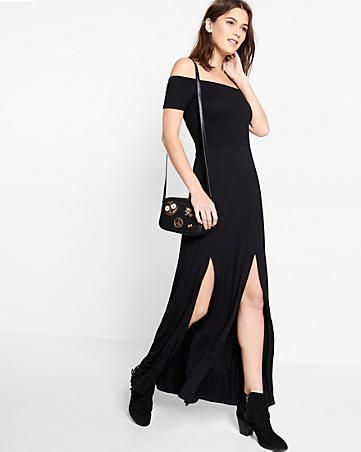 63aa7656fbc black off the shoulder smocked maxi dress | fashion | Pinterest ...