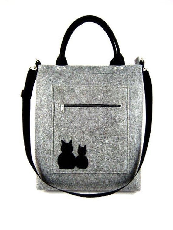 46a5e63b42b Cats handbag Felt purse Bag for women Gray bag Felt bag Designer ...