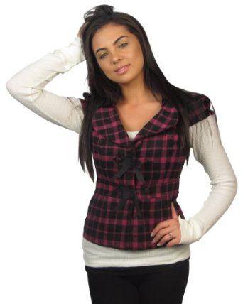 599fashion Ladies flannel short sleeve jacket w/small front bow detail-id.23110-M 599fashion. $5.99